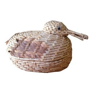 Vintage Natural Wicker/ Straw Bird Basket