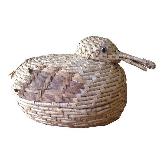 Vintage Natural Wicker/ Straw Bird Basket - Image 1 of 11