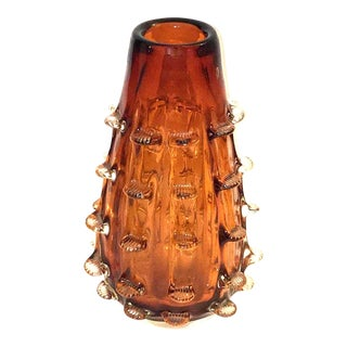Vintage Italian Hand Blown Amber Art Glass