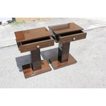 Image of French Art Deco Macassar Ebony Nightstands - A Pair