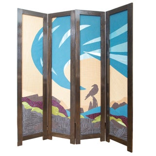 6 Ft. Oak & Fabric 4-Panel Room Divider With Crow