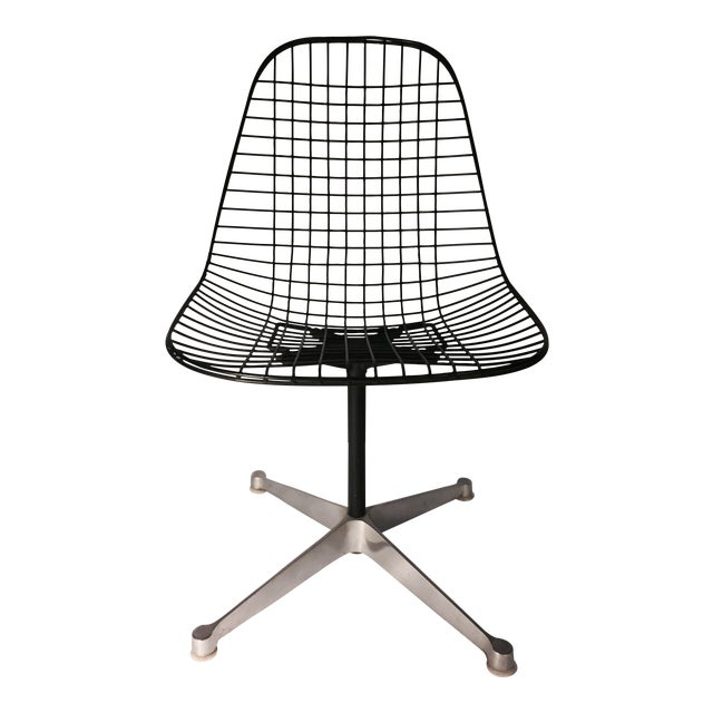 eames swivel base wire chair chairish. Black Bedroom Furniture Sets. Home Design Ideas