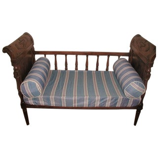 French Early 1800s Hand Carved Walnut Settee Crib