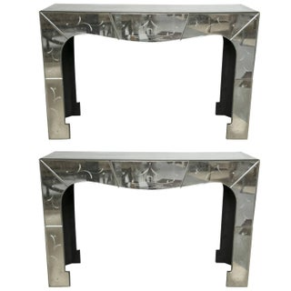 Chinese Pagoda Etched Mirrored Consoles - Pair