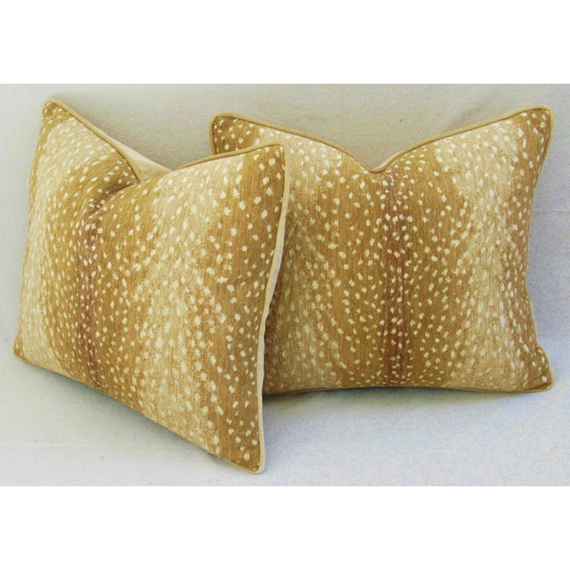 Custom Tailored Antelope Fawn Spot Velvet Feather/Down Pillows- Pair - Image 8 of 10