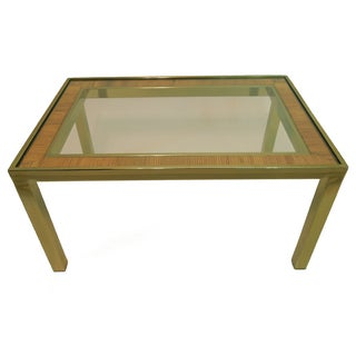 1970s Crespi Style Rattan & Brass Coffee Table