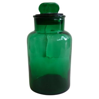 Italian Green Glass Lidded Jar