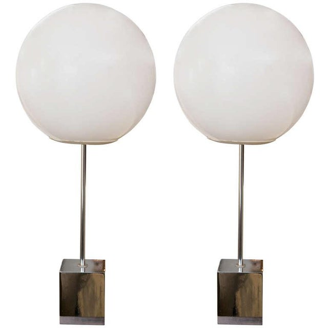 Image of Robert Sonneman 1960's Globe Lamp - A Pair