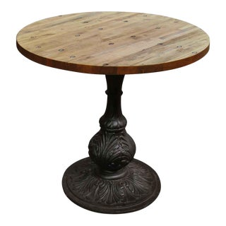 Ornate Ball Base Industrial Flooring Bistro Table