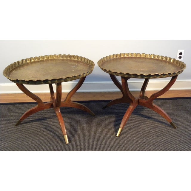 Vintage Moroccan Tea Tables/End Tables-A Pair - Image 2 of 5