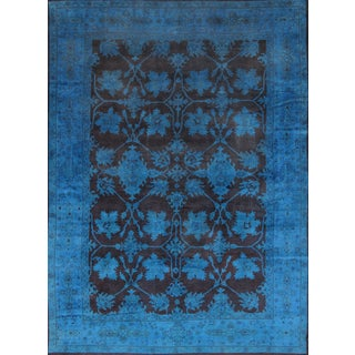 "Overdyed Handmade Brown & Blue Rug - 10'2"" X 13'8"""