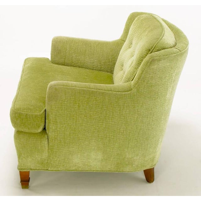 Pair of Pistachio Green Chenille Button-Tufted Low Barrel Back Wing Chairs - Image 5 of 9