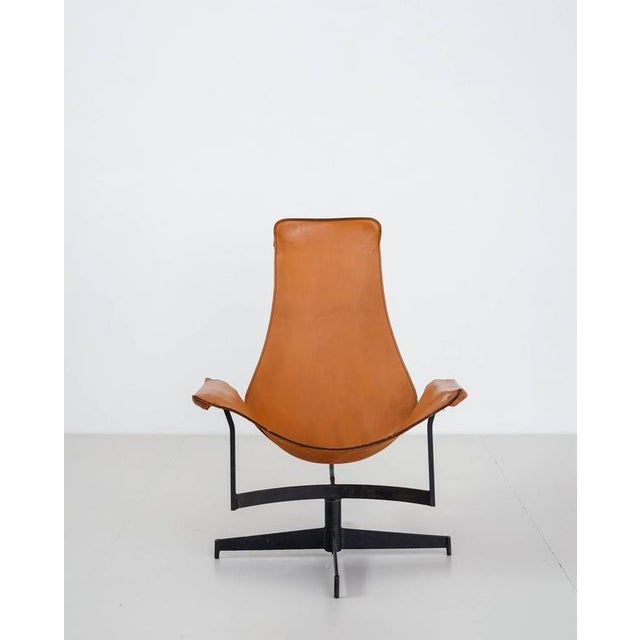 William Katavolos Swiveling Brown Leather Sling Chair, USA, 1950s - Image 3 of 10