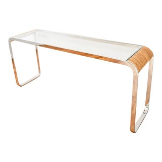 Mid-Century Modern Chrome Glass & Rattan Console Table