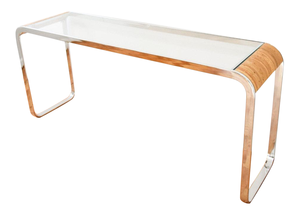 Mid Century Modern Chrome Glass U0026 Rattan Console Table