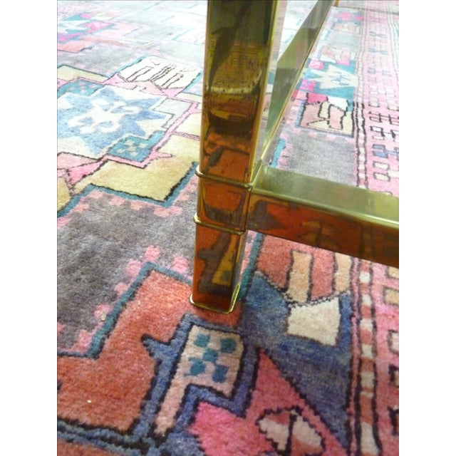 Mastercraft Vintage Brass & Glass Console Table - Image 9 of 11