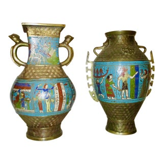 Japanese Bronze and Enamel Vases in Egyptian Motif - a Pair
