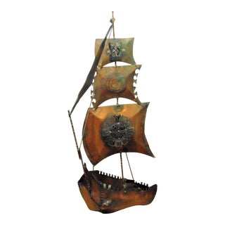 Vintage Copper Ship Wall Sculpture