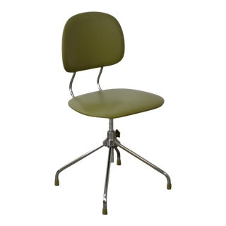 Mid Century Modern Chrome Swivel Base Green Desk Chair