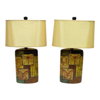 Ceramic Pottery Dragonfly & Butterfly Table Lamps - A Pair