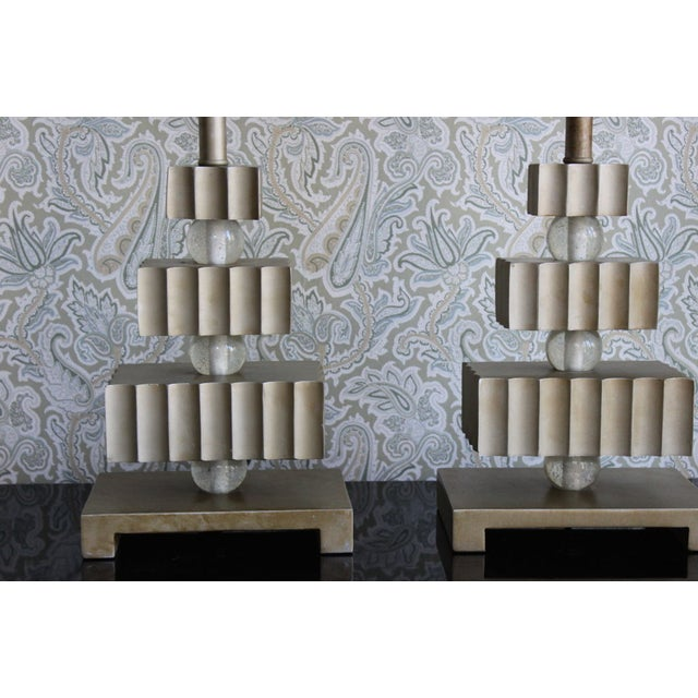 Hollywood Regency Three Tier Table Lamps - Pair - Image 3 of 4