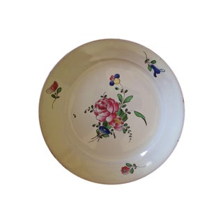 Antique French Hand-Painted Floral Faience