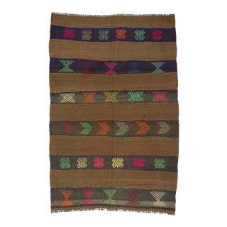 Vintage Embroidered Wool Kilim Rug - 5′3″ × 8′2″