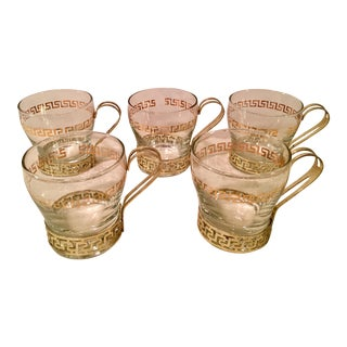Libbey Gold Greek Key Coffee Glasses - Set of 5