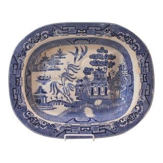Large 19th Century English Blue Willow Ironstone Meat Platter with Drain