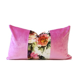 Pink Blooms Designer Velvet & Down Pillow