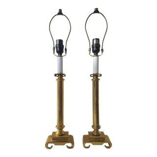 Solid Brass Neoclassical Column Pillar Greek Scrolled Pedestal Lamps - A Pair
