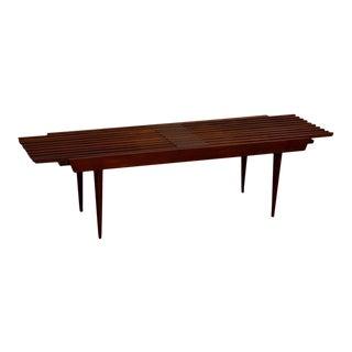 Mid-Century Walnut Extendable Bench