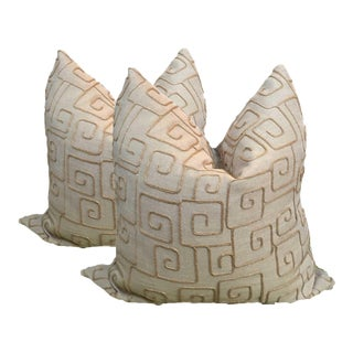 Natural Linen Pillows With Rope - a Pair