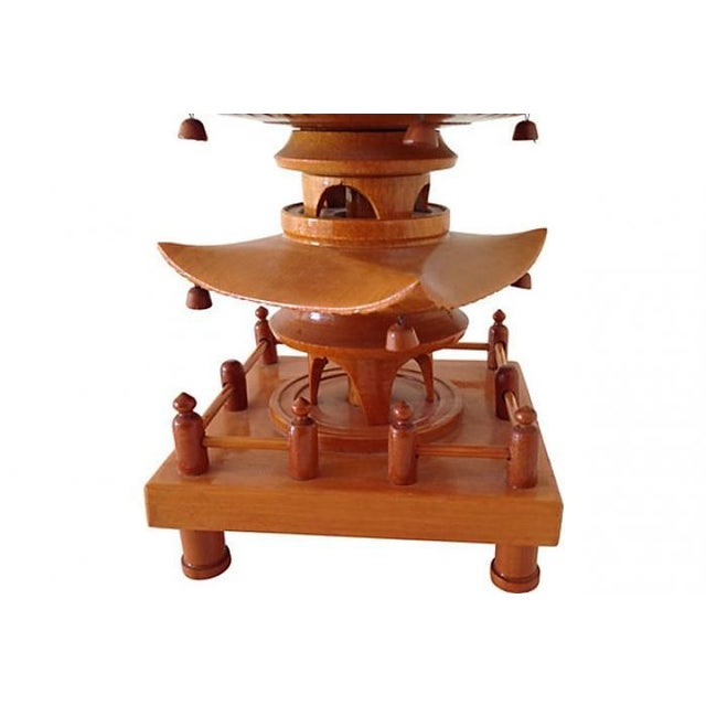 1940 Carved Wood Pagoda Sculpture - Image 4 of 6