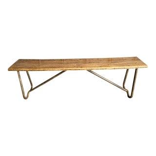 Vintage Wood & Metal Bench