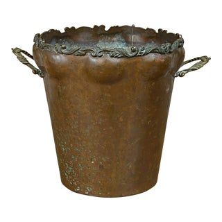 20th Century English Hammered Copper Jardiniere