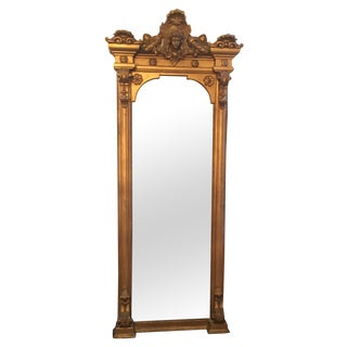 Antique Louis XVI Gilt Wood and Plaster Pier Mirror