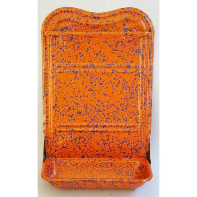 French Marbleized Enameled Utensil & Towel Rack - Image 2 of 7