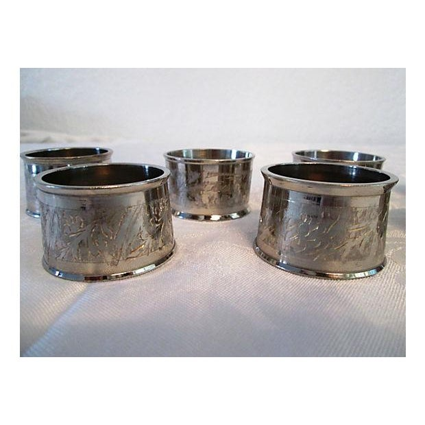 Silverplate Engraved Leaf Napkin Rings - Set of 8 - Image 5 of 5