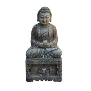 Chinese Distressed Brown Gray Stone Sitting Meditation Buddha Statue