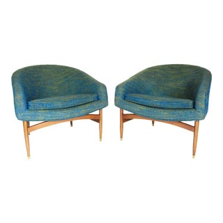 Lawrence Peabody Mid-Century Modern 'Floating' Blue Club Chairs - a Pair