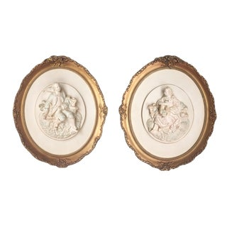 Sculptural Rococo Chalkware Paintings - Pair