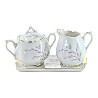 Pink Floral Cream & Sugar - Set of 3