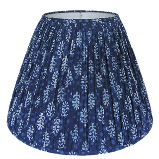Indigo Blue Block Print Gathered Lamp Shade, Medium