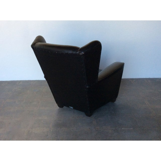 Vintage Black Leather Wing Chair - Image 5 of 7