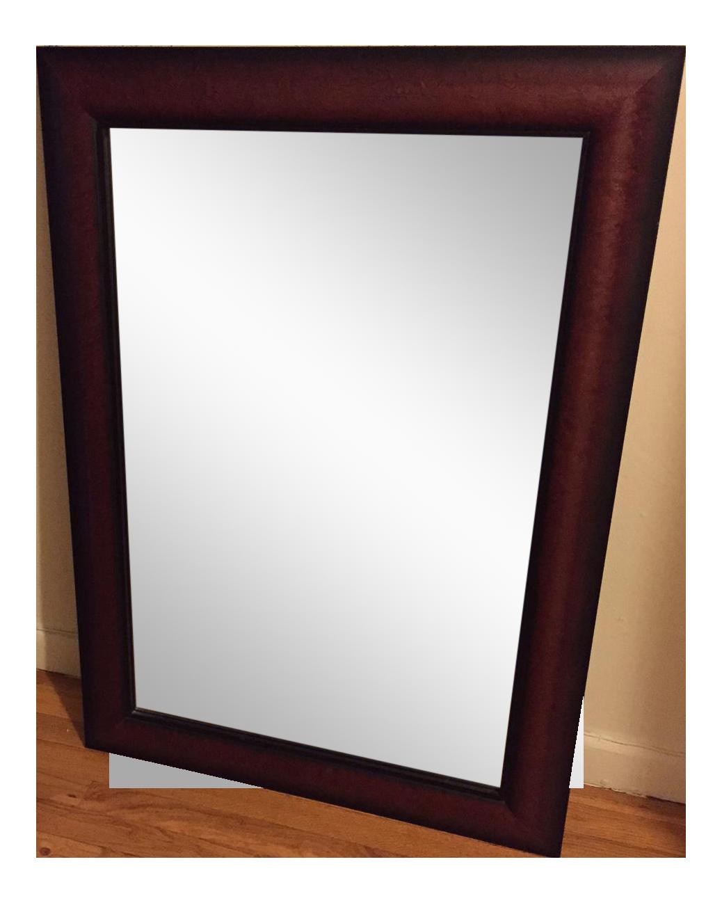 Cherry Wood Framed Rectangular Wall Mirror : Chairish
