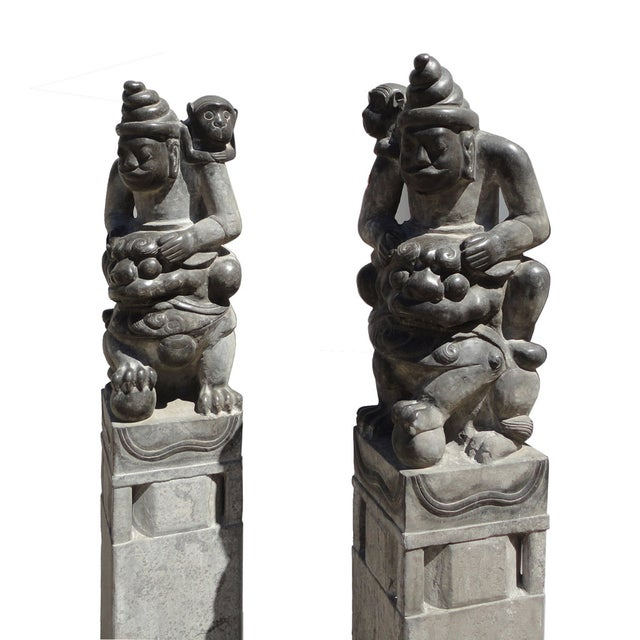 Image of Chinese Stone Feng Shui Column Statues - Pair