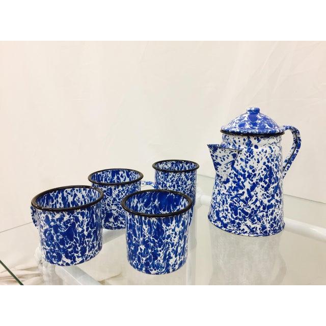 Blue & White Paint Splattered Enamel 5-Piece Tea Set - Image 5 of 11