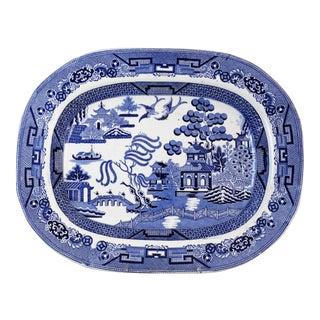 Antique Staffordshire Blue Willow Platter