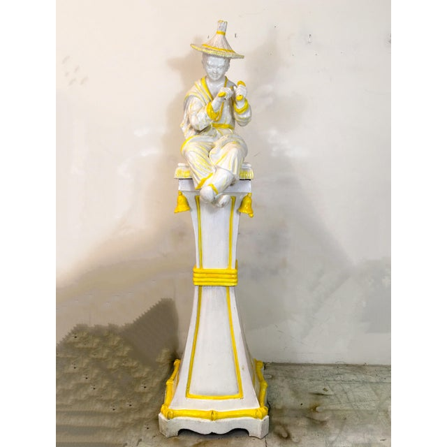 Palm Beach Style Chinoiserie Statue - Image 7 of 7
